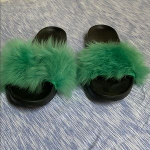 Ugg green fur slides